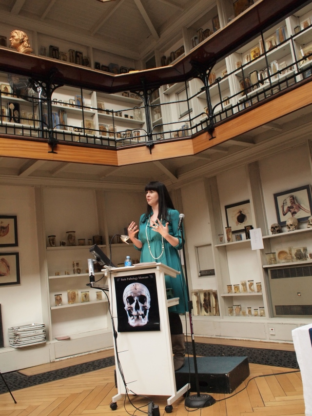 Death Salon co-founder Caitlin Doughty gives a keynote talk at Death Salon UK, April 2014. Photo by Megan Rosenbloom