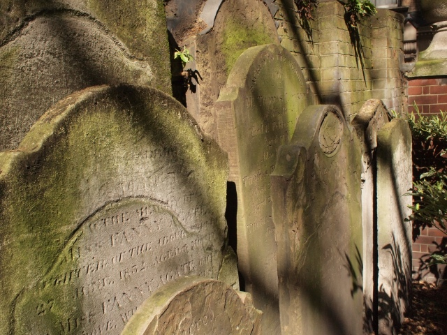 A stack of old gravestones in Postman's Park. Photo by Megan Rosenbloom